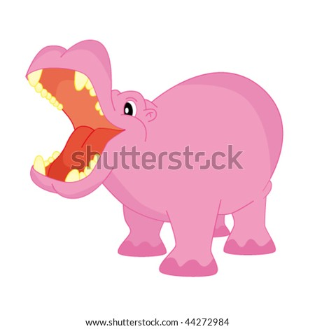 Pink hippo. Vector