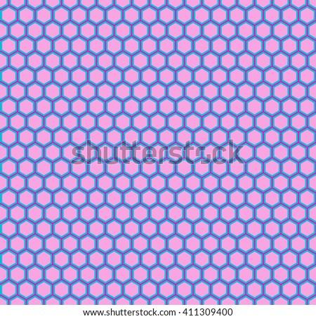 Pink Honeycomb seamless pattern - stock vector