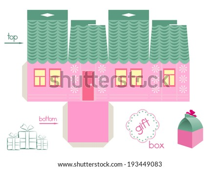 Pink House Gift Box Template Gift Vector 193449083 – Template for Gift Box