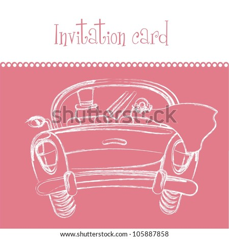 pink invitation card, just married card. vector illustration - stock vector