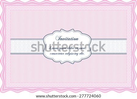 Pink invitation template