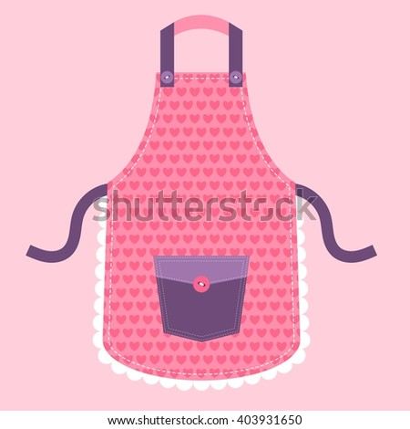 pink kitchen apron with hearts - stock vector