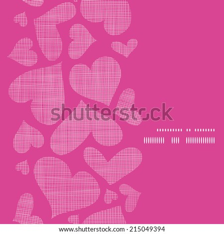 Pink lace hearts textile texture vertical frame seamless pattern background