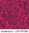 Pink lace vector fabric seamless  pattern with flowers - stock vector