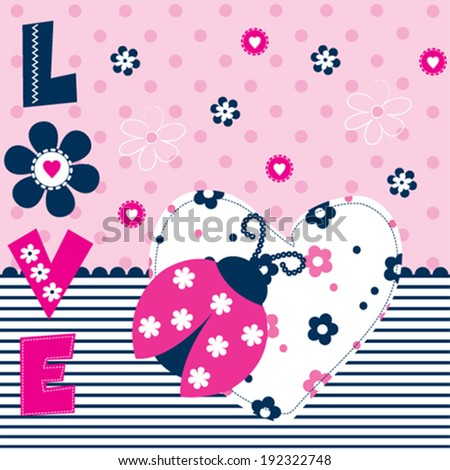 pink ladybug love card vector illustration - stock vector