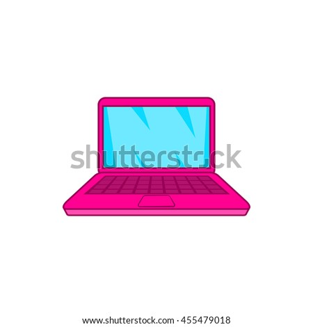 Pink laptop icon in cartoon style on a white background - stock vector