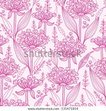 Pink lillies lineart seamless pattern background - stock vector