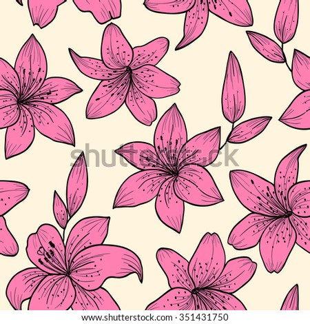 Pink lily.Vector seamless pattern