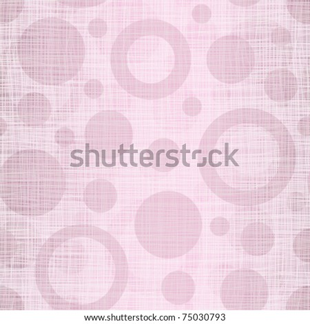 Pink linen cotton fabric with drawing circles - stock vector