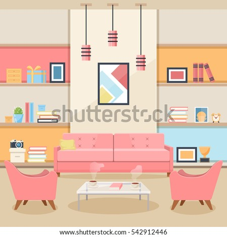 Pink Living Room Furniture Cozy Interior Stock Vector 542912446 ...