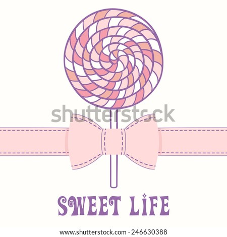 Pink lollipop with ribbon. Business card template - stock vector