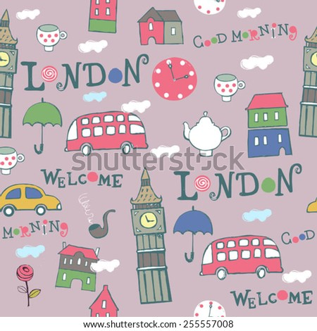 pink London hand drawn vector pattern - stock vector