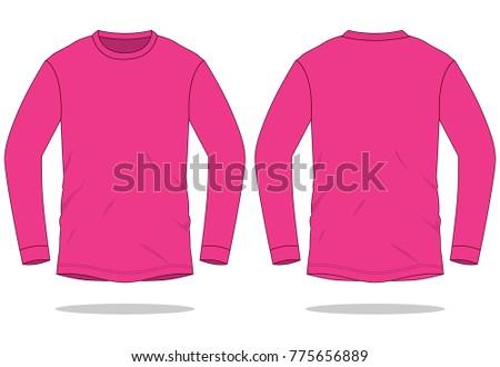 Pink long sleeve t shirt template stock vector 775656889 for Pink t shirt template
