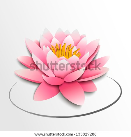 Pink lotus flower. Paper cutout. Vector illustration - stock vector
