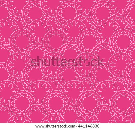 Pink Magenta seamless pattern. Circles and flowers vector background.