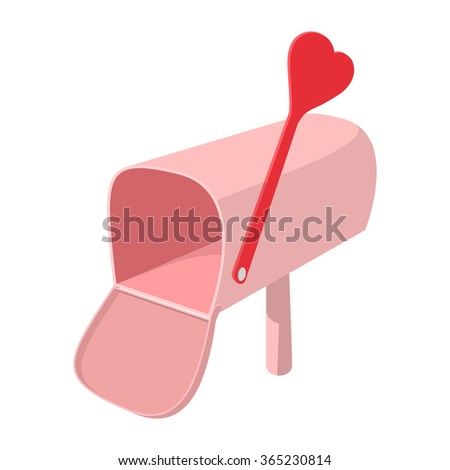 Pink mailbox with cupid arrow cartoon icon on a white background - stock vector