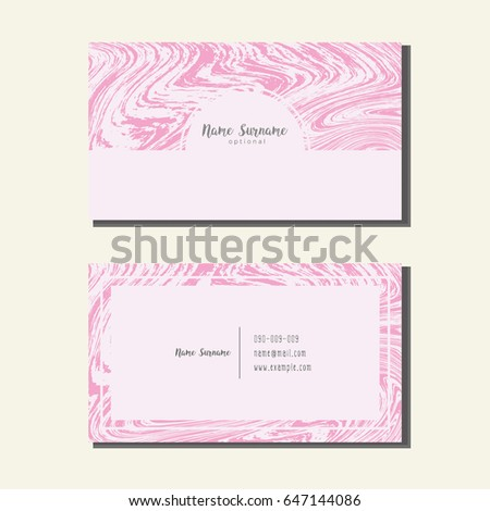 Pink Marble Name CardVector Of Abstract Liquid Background