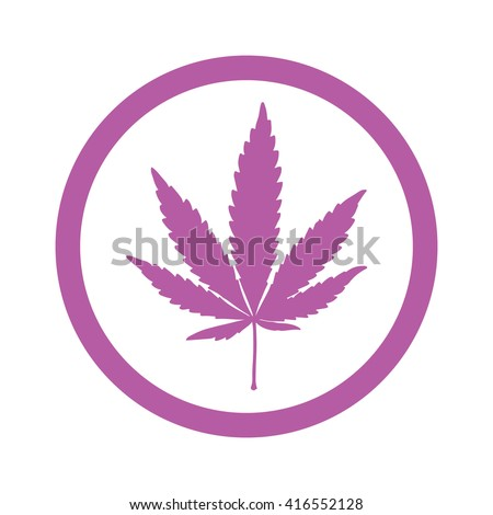 Pink marijuana leaf in circle icon vector illustration - stock vector