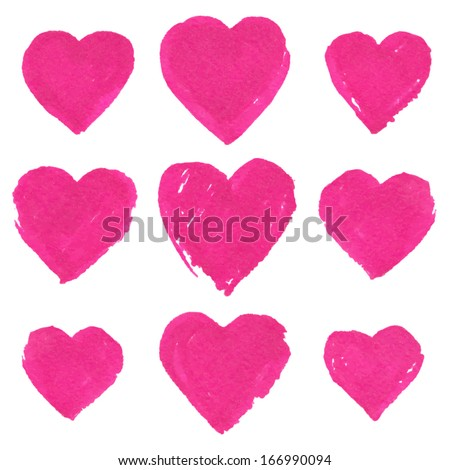 Pink marker painted vector hearts set - stock vector