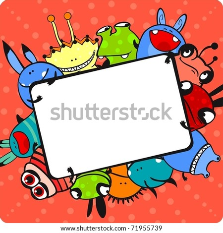Pink monster frame - stock vector
