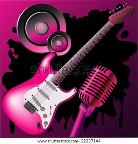 wallpaper music guitar pink - photo #1
