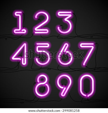 Pink neon light alphabet numbers with cable. Vector. - stock vector