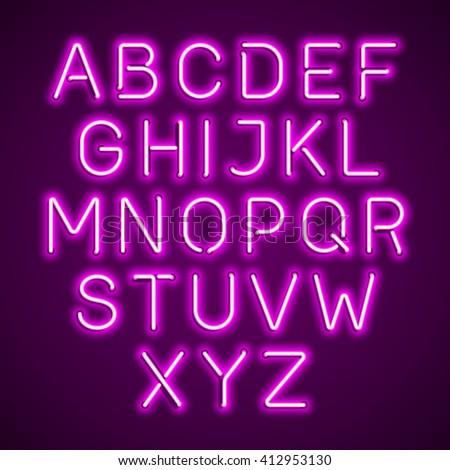 Pink neon light glowing alphabet. Vector. - stock vector