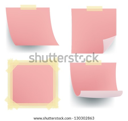 Pink note paper icon sets sticking on the wall for office memo post it board, create by vector.