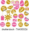 pink & orange stickers, vector illustration - stock vector