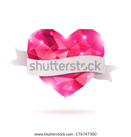 Pink origami heart on white backdrop with shadow. Vector Illustration. Abstract polygonal heart. Love symbol. Low-poly colorful style. Romantic background for Valentines day or wedding design.