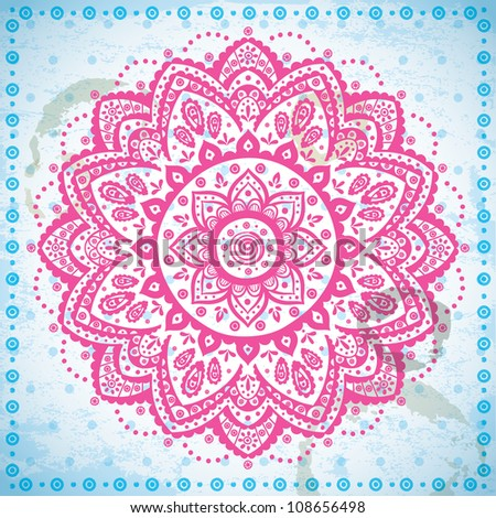 Pink ornament on the blue grunge background - stock vector