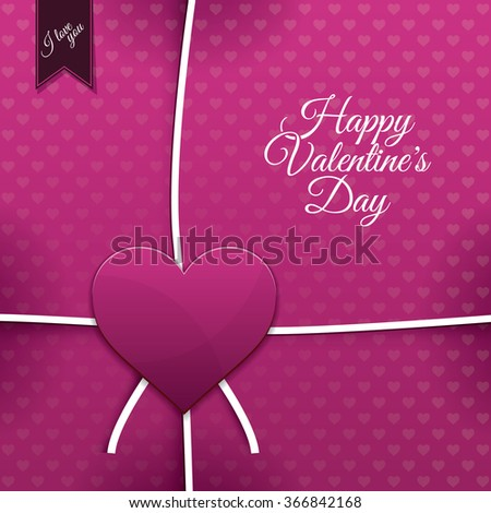 Pink paper heart Valentines day card with sign on heart background - stock vector