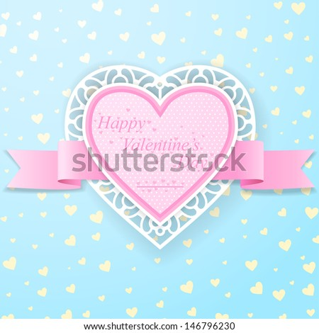 Pink paper heart with ribbon and lace on blue background with yellow little hearts - stock vector
