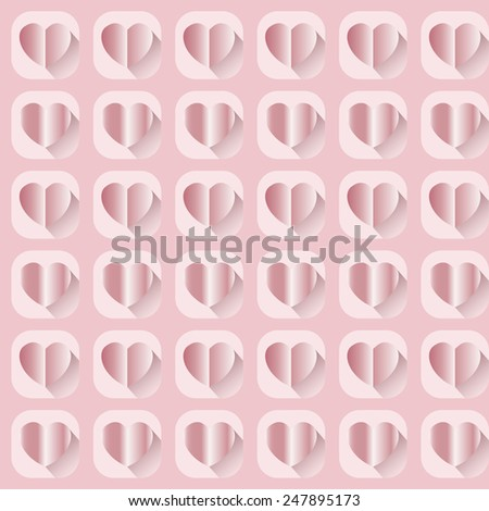 Pink paper hearts pattern with shadow, vector background
