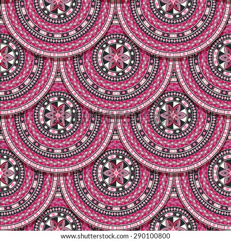 Pink pattern  with round tribal motif and shadows - stock vector