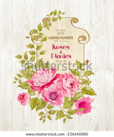 Pink peony background with a vintage label over wooden wall. Vector illustration.. - stock vector