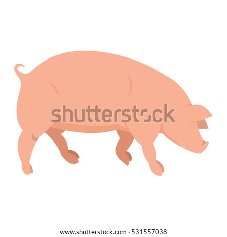 Pink pig in flat style isolated on white background. Pig icon for web and banners. Vector illustration