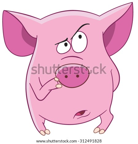 pink pig is thinking - stock vector
