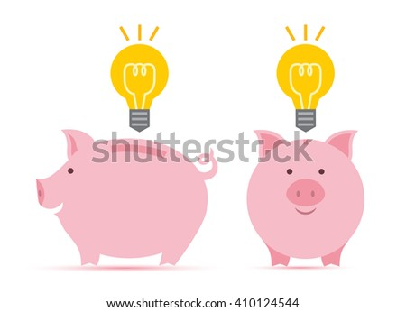 Pink piggy bank idea bulb concept isolated on white background. Pig for saving idea Vector illustration. - stock vector