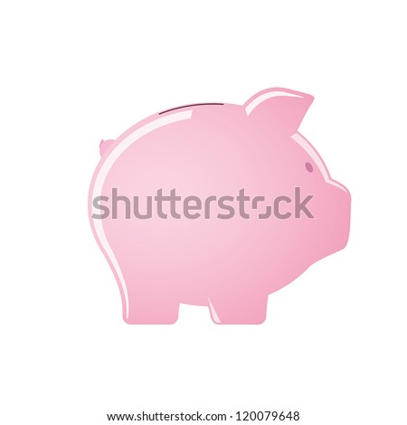 Pink piggy bank isolated on white background - stock vector