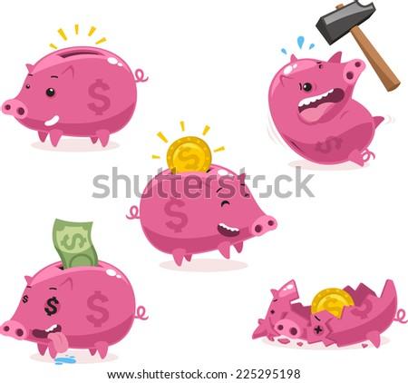 Pink Piggy bank Savings Set vector illustration. - stock vector