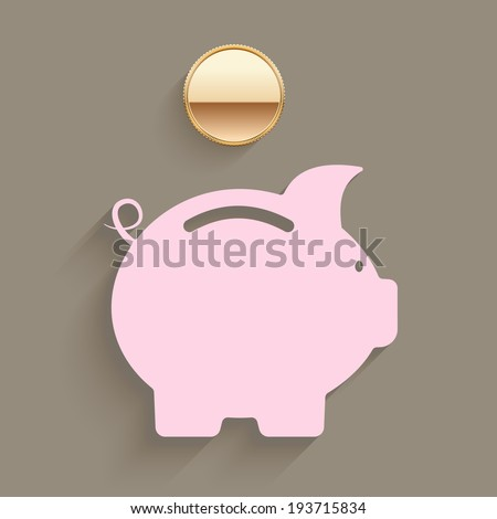 Pink piggy bank with a gold coin suspended above the slot in a savings and investment planning concept  vector illustration - stock vector