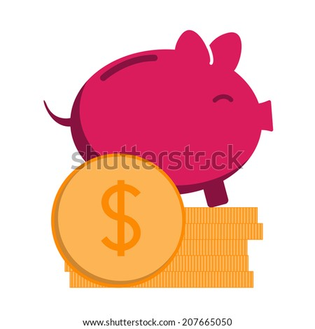 Pink piggy bank with pile of coins - stock vector