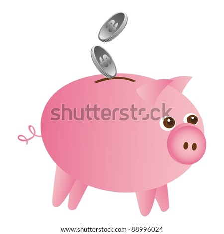 pink piggy with silver coins isolated over white background. vector - stock vector