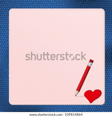 Pink postcard with red heart on blue leather pad,Vector Eps10 - stock vector