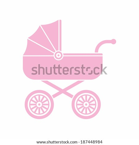 Pink pram (baby carriage) icon - stock vector