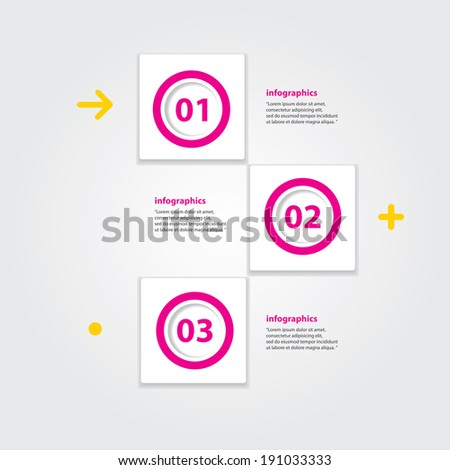 pink progress paper banners / can be used for infographics / numbered banners / horizontal cutout lines / graphic or website layout vector