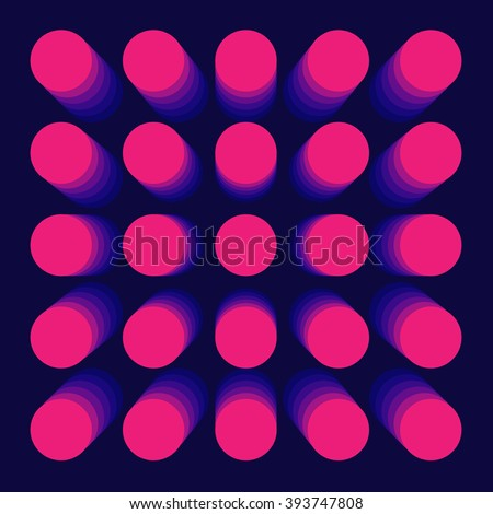 Pink purple 3d volume dots on dark blue background. Vector illustration