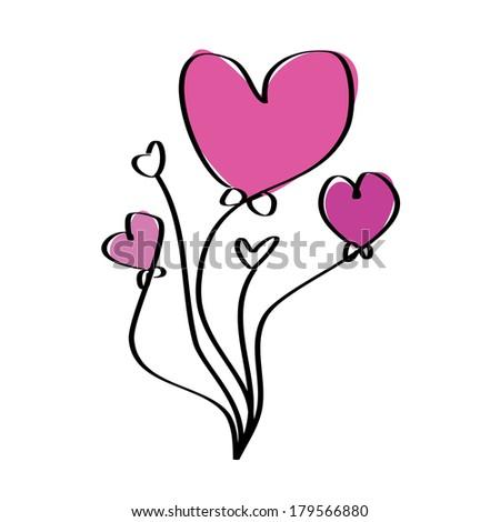 Pink purple love heart balloons - stock vector