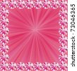 Pink rays in jeweled frame with place for text - stock photo